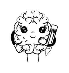 Figure kawaii happy brain with pencil tool vector