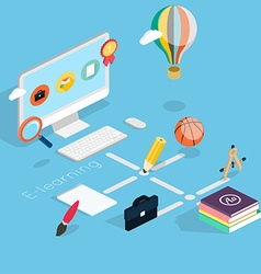 Flat 3d isometric concept of online education vector