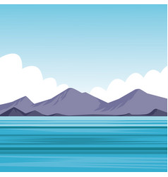 Flat sea landscape cartoon vector