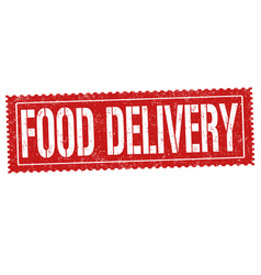 food delivery grunge rubber stamp vector image