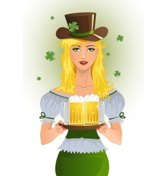 Girl with beer for stpatrics day vector