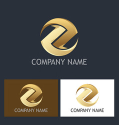 gold round circle letter z logo vector image