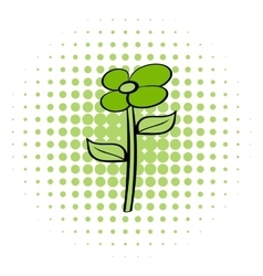 Green flower eco comics icon vector
