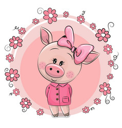 Greeting card cute pig with flowers vector