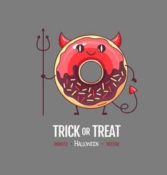 Halloween kawaii funny donut devil sweet food vector