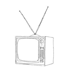 hand drawn tv vector image
