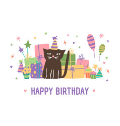 happy birthday inscription and adorable cartoon vector image