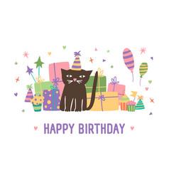 Happy birthday inscription and adorable cartoon vector