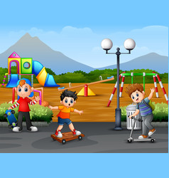 happy kids playing in the park city vector image