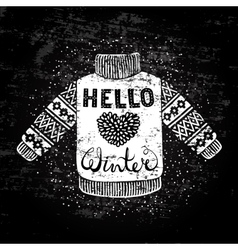 Hello winter text and knitted wool pullover with a vector