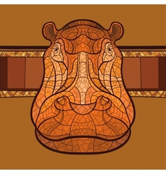 Hippo head with ethnic ornament vector