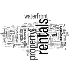 How to locate waterfront property rentals vector