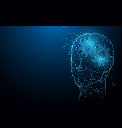 Human head with gears from lines and particle vector