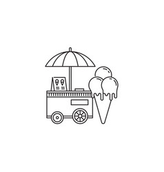ice cream cone and cart icon linear design vector image