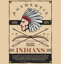 Indians native americans tribe chief in headdress vector