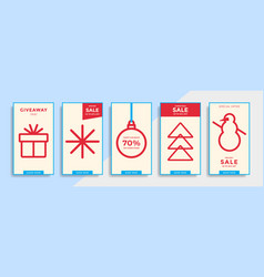 Instagram stories with line winter holidays icons vector