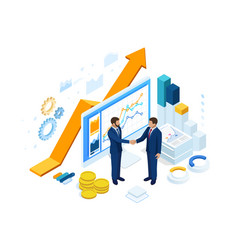 isometric successful business collaboration vector image