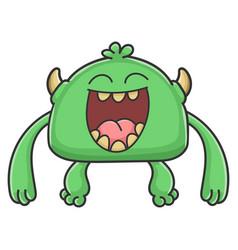 Laughing green goblin cartoon monster vector