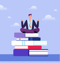 literate man sits on pile of books self education vector image