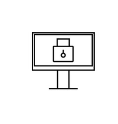 locked computer icon vector image vector image