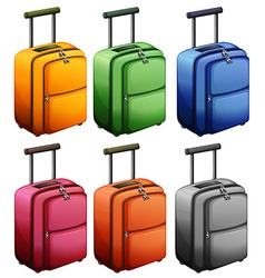 Luggages in six colors vector