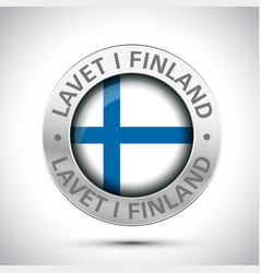 made in finland flag metal icon vector image
