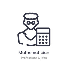 Mathematician outline icon isolated line from vector