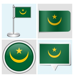 Mauritania flag - sticker button label vector