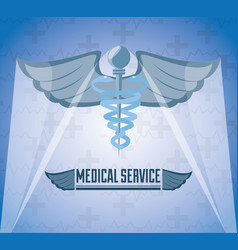 Medicine symbol with message of medical service vector