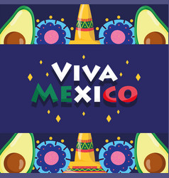 mexican independence day avocado hats flowers vector image