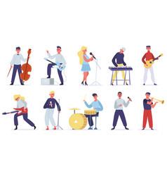 musicians characters guitarist singer drummer vector image