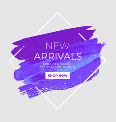 New arrivals sale text over watercolor art brush vector