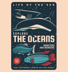 ocean life undersea monsters and wonders poster vector image