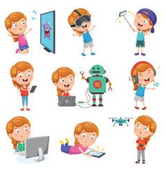 of little girl playing with de vector image