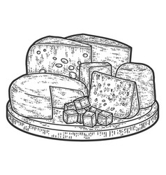 On desk cheese products still life old engraving vector