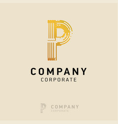 p company logo design with visiting card vector image