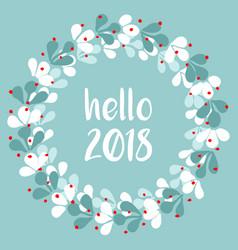 Pastel laurel wreath hello new year 2018 vector