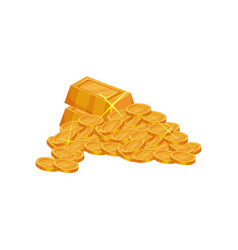 Pile of shiny golden coins and ingots pirate vector