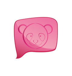 Pink square chat bubble with bear animal inside vector