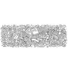 Pizza hand drawn cartoon doodles vector
