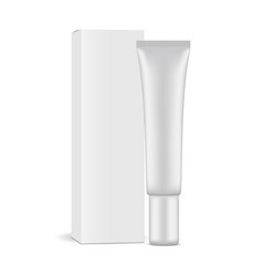 plastic cosmetic tube with paper box vector image