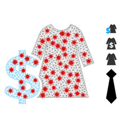 Polygonal carcass dress price icon with vector
