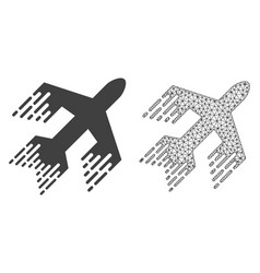 Polygonal mesh jet plane and flat icon vector