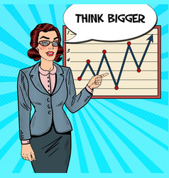 Pop art business woman pointing on growth graph vector