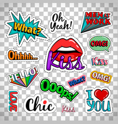 Quirky quotes stickers on transparent background vector