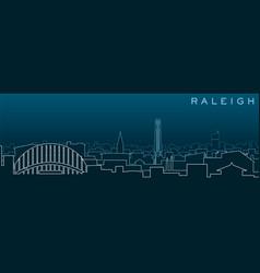 Raleigh multiple lines skyline and landmarks vector