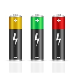 Realistic Colorful Battery Set vector