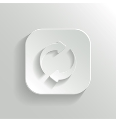 Refresh icon - white app button vector