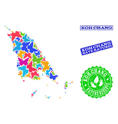Save nature collage of map of koh chang with vector
