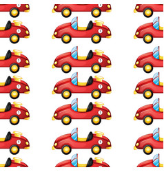 Seamless pattern tile cartoon with toy car vector